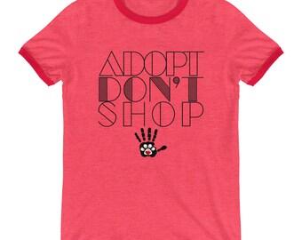 Adopt Don't Shop Ringer T-Shirt