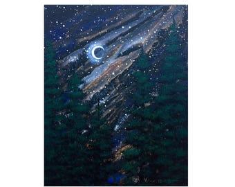 Moonlit Pines Original Acrylic Painting on Canvas