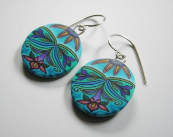 Millefiori Polymer Clay Dangle Earrings- Spring Thing