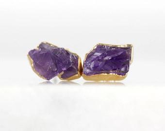 amethyst studs | amethyst earrings | amethyst point studs | february birthstone earrings | february birthstone studs | raw crystal earrings