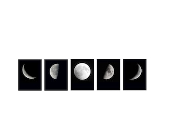 Moon Phases Set of Five Moons First Quarter Moon, Last Quarter Moon, Supermoon, Crescent Moons Set Phases of the Moon set of Moon Prints