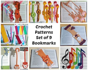 9 bookmarks set Amigurumi Crochet Patterns - 5 Pdf files by Zabelina Etsy