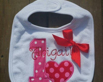 First Birthday Heart Smash Cake Bib- Pink and Red With Bow ( steampunk font)