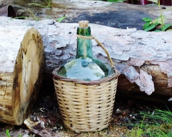 Vintage Demi John Green Wine Bottle in Wicker