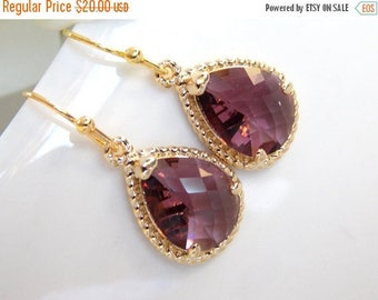 Wedding Jewelry, Bridesmaid  Jewelry,Plum Earrings,Eggplant, Purple, Burgundy, Bridesmaid Gifts, Bridesmaid Earrings, Drop, Gold, Gifts