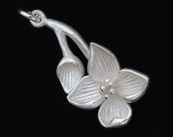 1 of 925 Sterling Silver Flower Branch  Pendant 12x23mm. Matte Finish. :th1810
