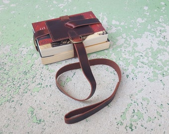 Classic Brown Leather Book Strap with Antique Brass Hardware