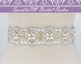 Bridal Sash, Wedding Sash, Bridal Belt, Crystal Sash, Rhinestone Sash, Jeweled Belt, Jeweled Sash, Wedding Gown Belt, Blue Bridal Sash