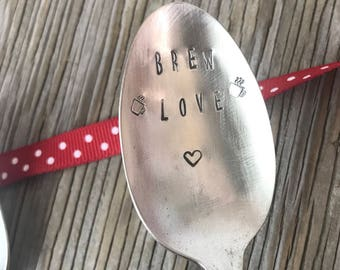 Valentines day gift Vintage flatware hand stamped spoon- Brew Love coffee lovers gift ready to ship gift for coffee spoon funny Gift