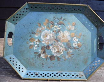 Vintage Teal Green and Gold Metal Nashco New York Toleware Hand Painted Floral Rose Serving Tray with Lattice Work Edges