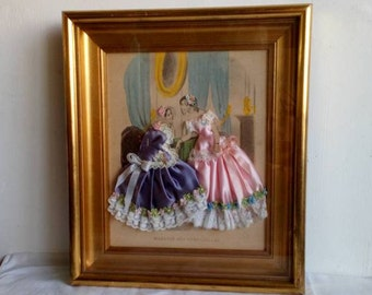 Romantic Paris Fashion Engraving with Pink and Purple Victorian Ladies, Embellished Print,
