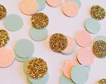 Mint Coral Gold Party Confetti