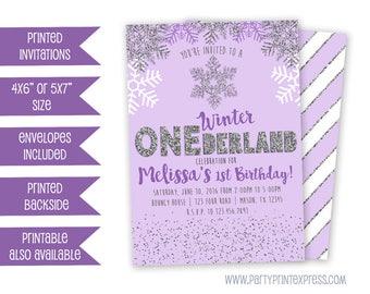 Purple Winter ONEderland Invitation - Winter Wonderland Invitation - Girl First Birthday Invitations - 1st Birthday December Party Invite