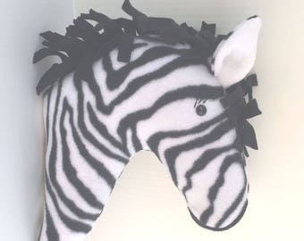 Stuffed Zebra Head Pillow / Stuffed Animal Head / Faux Animal Head / Zebra Head Pillow / Unique Valentine Gifts