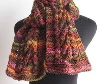 Hand Knit Scarf Burgundy, Olive Green and Orange Cable and Lace Knit Scarf, Womens Scarves, The Stef Scarf, Vegan Scarf, Winter Scarf