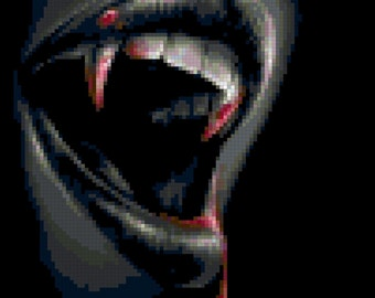 Counted Cross Stitch Pattern of Bloody Fangs