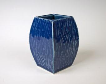 Handmade small blue ceramic vase, porcelain pottery, made from slabs