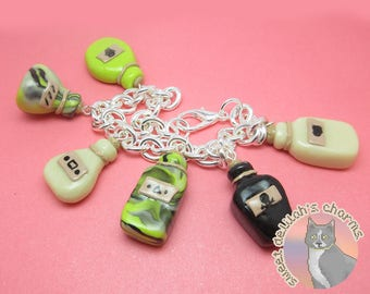 Glow in the Dark Alchemist Charm Bracelet - Tabletop D&D Dungeons and Dragons Jewelry - Polymer Clay Potion Bottle Charms