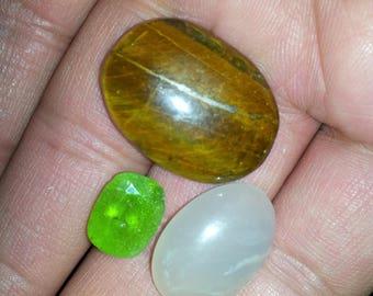 Natural Peridot tiger eye moonstone lot facet cab 48ct