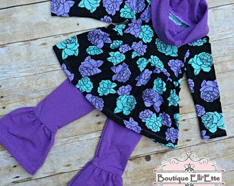 RTS 3T Set Girls Knit Top Emerald Cowl Neck Top and Ruffled Leggings Purple Green Black Infant
