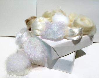White Fiber kit, Sampler, wool, white firestar, glitz, Needle, Wet Felting, Spinning, Palette, mini batt, white roving, ecru,  1 oz