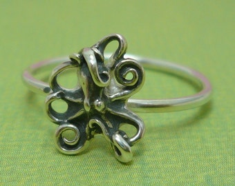 Silver Octopus Ring Size 7 1/4