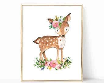 Deer Print. Deer Nursery. Deer Wall Art. Floral Deer Nursery Art. Baby Girl. Nursery Prints. Boho Nursery Art. Boho Nursery Prints. Nursery.