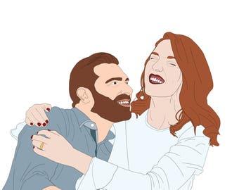 Couple Cartoon Portrait