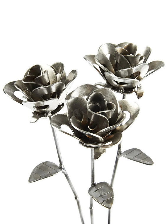 Three Metal Steel Forever Roses created by Welding Scrap Metal Steampunk Style making Unique Gifts and Modern Rustic Home Decor!