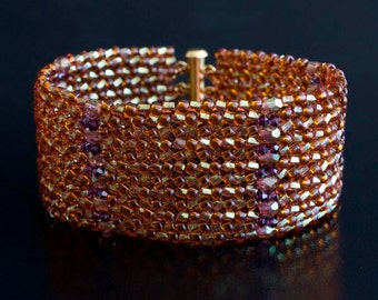 Dark Topaz and Amehtyst Beaded Bracelet with Swarovski Crystal Beads. Rusty Orange, Purple Beadwoven Bracelet with Faceted Beads S266