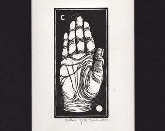 Hand Printed Hand Carved Original Black & White Linocut of a Palm