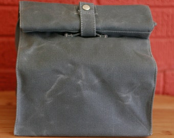 Waxed Canvas Reusable Lunchbag: Large Appetite with Handle