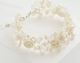 Cuff Bracelet Swarovski Crystals, Freshwater Pearls and Ivory Roses Wedding