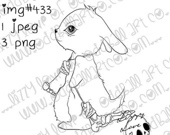 INSTANT DOWNLOAD Digital Stamp Cute Mischievous Bunny with Lucky Human Foot - Lucky Feet Image No.433 by Lizzy Love
