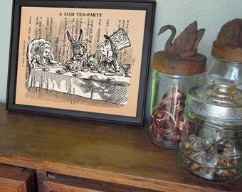 Digital Print ALICE in WONDERLAND PRINT - Mad Hatter Tea Party - art download