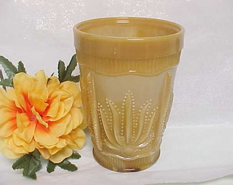 Vintage Cactus Tumbler in Chocolate Slag Glass, Western Theme Room Decor Pencil Holder or Toothbrush Holder, Pressed Pattern Glassware
