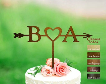 Letter b, letter a, cake toppers for wedding, wedding cake topper arrow, rustic cake topper, monogram cake topper, cake topper heart, CT#305