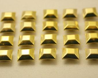 100 pcs. Gold Faceted Square Rivet Stud Button 9 mm.  DHGS9