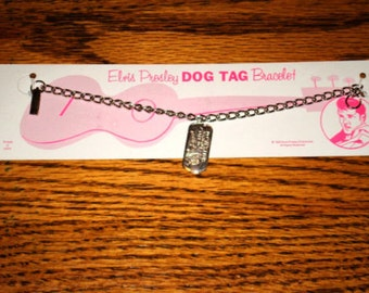 1950S ELVIS Presley Authentic Dogtag Bracelet New on card rare ROCK n' Roll