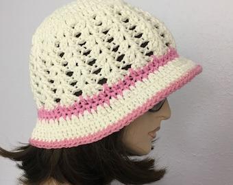 Women Crochet Summer Hat Women Summer Brimmed Beanie in Off White Cotton Yarn Women Spring Hat