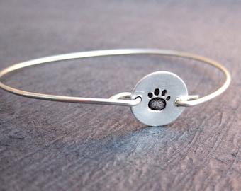 Pet Paw Bangle Bracelet, Paw Print Bracelet, Dog Jewelry, Cat Paw Bracelets, Pet Lover Bracelet, Sterling Silver Bangle Bracelet, Dog Paw