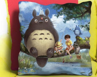 Totoro Pillow, Totoro Cushion, Totoro Anime Throw Pillow Case 18x18 Home Decor, Gift, Custom, Handmade, Housewarming Bedroom, couch