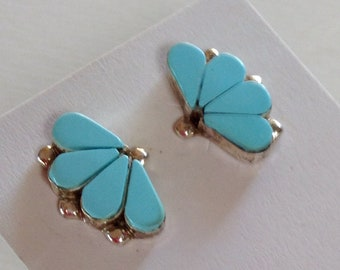 Native American Zuni Turquoise Sterling Silver Fan Post Earrings