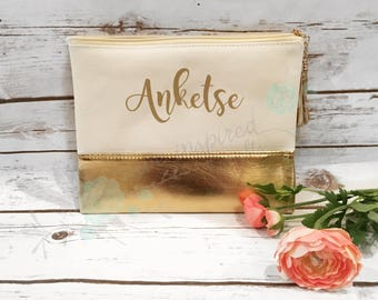 Gold leather and canvas makeup bag, gold makeup bag, custom makeup bag, bridesmaid gift, custom bridesmaid gift, custom makeup bag