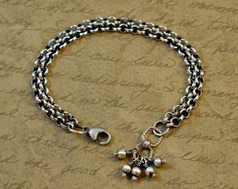 Sterling silver double strand bracelet, 3.9mm rolo chain, chunky, oxidized, rustic, chain link extender, lobster clasp, bytwilight, beads