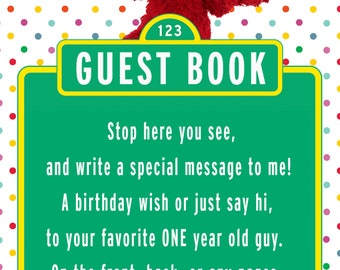 Elmo Guestbook Sign for 1 year old boy-polka dot