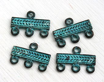 3 Strand connector, End bar, Verdigris Patina, Jewelry findings, greek metal casting, green patina - 4Pc - F383