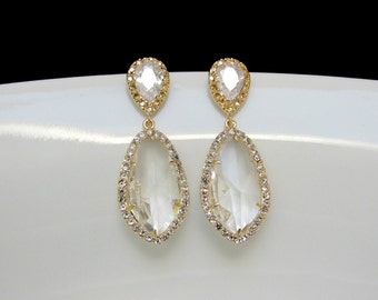 gold crystal earrings , gold pave drop earrings , bridal teardrop earrings , bridesmaids earrings , wedding jewelry , bridal collection