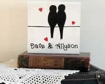 Personalized lovebirds (5.5 x 5.5 inches) shelf sitter
