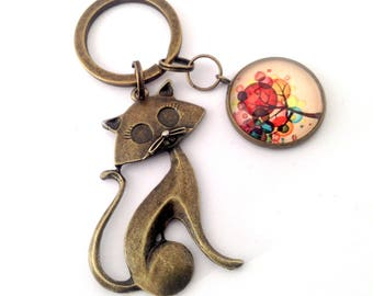 Keychain cat and tree of life colorful. Bronze.